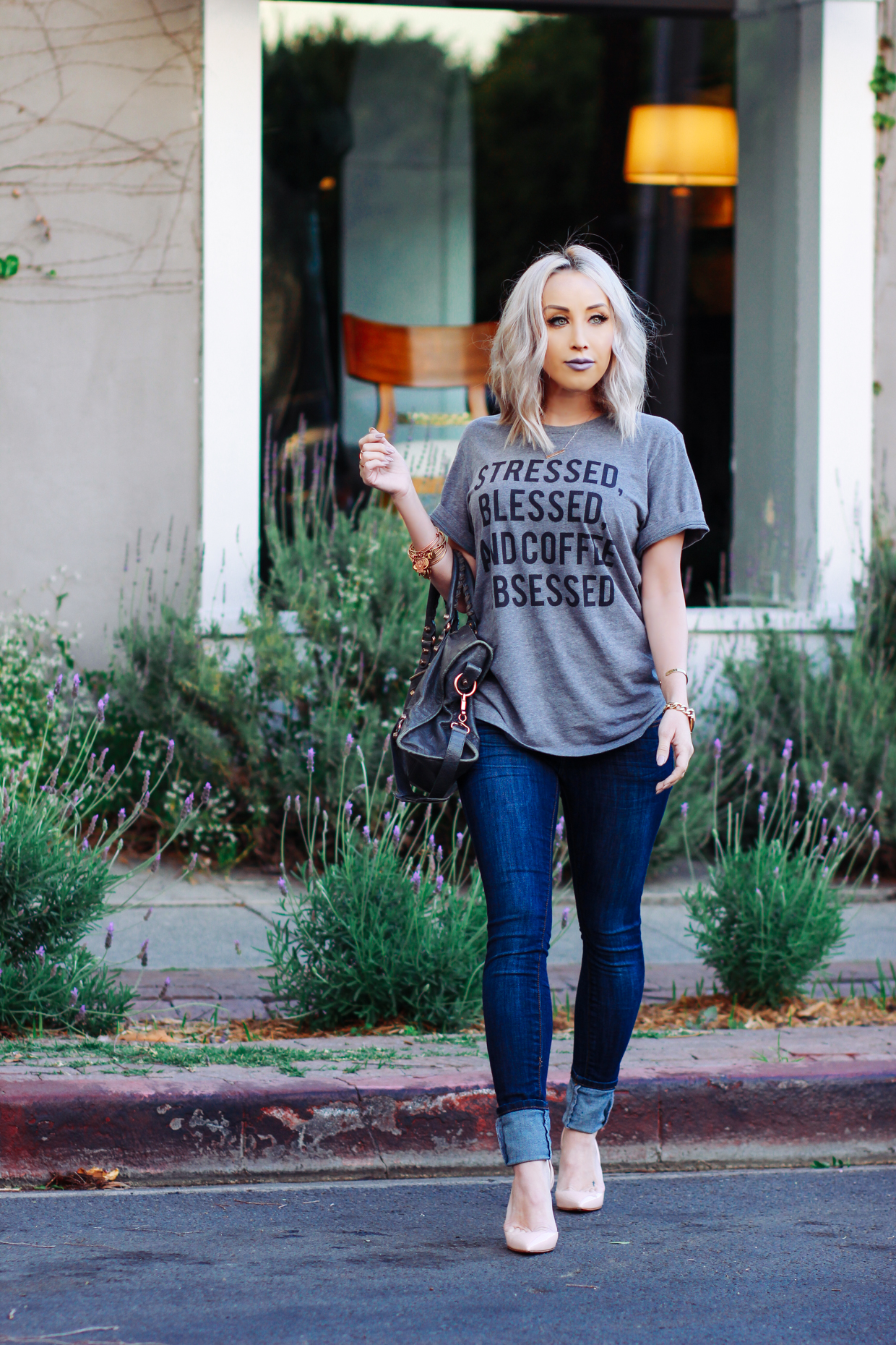 Blondie in the City | Stressed, Blessed, & Coffee Obsessed Shirt