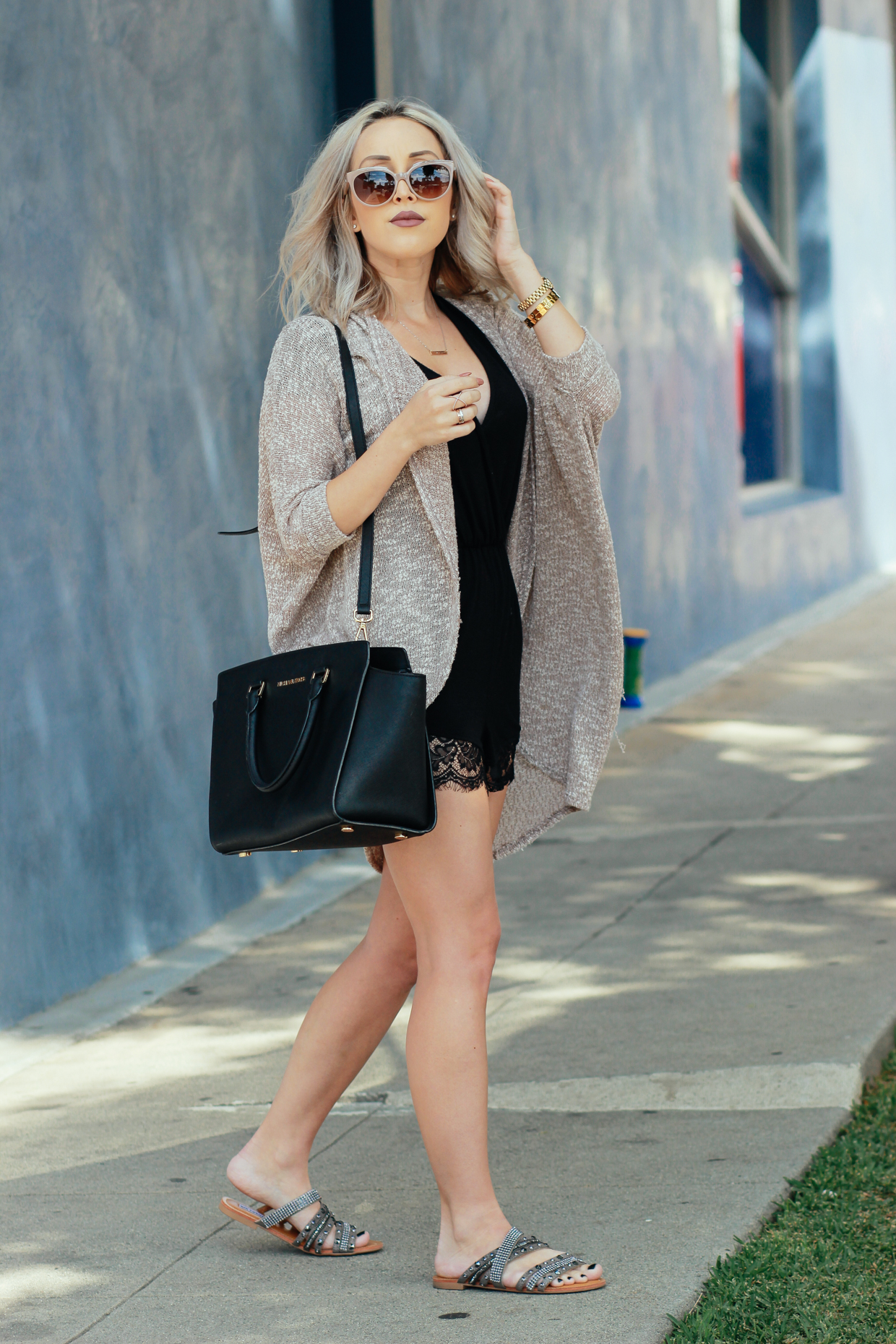 Blondie in the City | Balenciaga Sunglasses, Black Lace Romper, Black Michael Kors Bag,