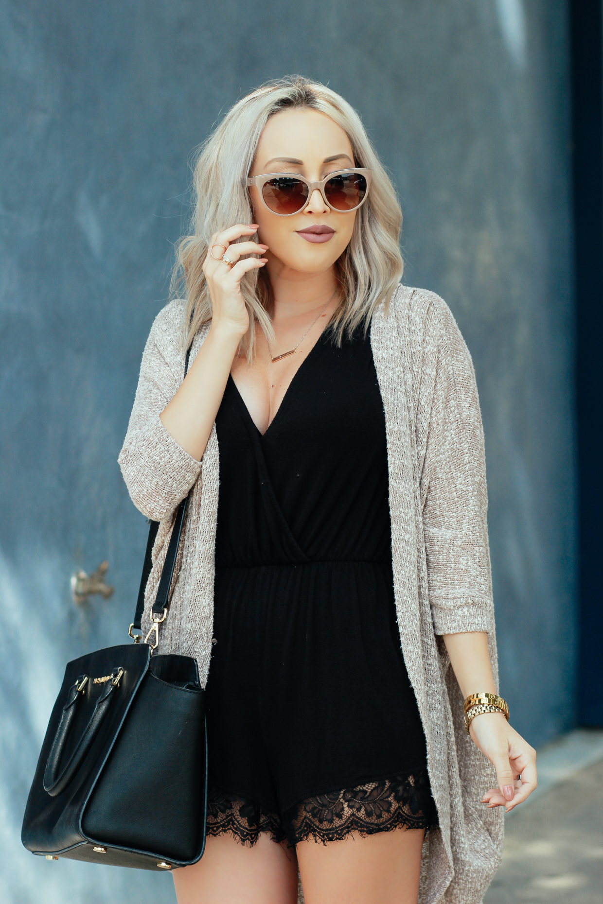 Blondie in the City | Balenciaga Sunglasses, Black Lace Romper, Black Michael Kors Bag