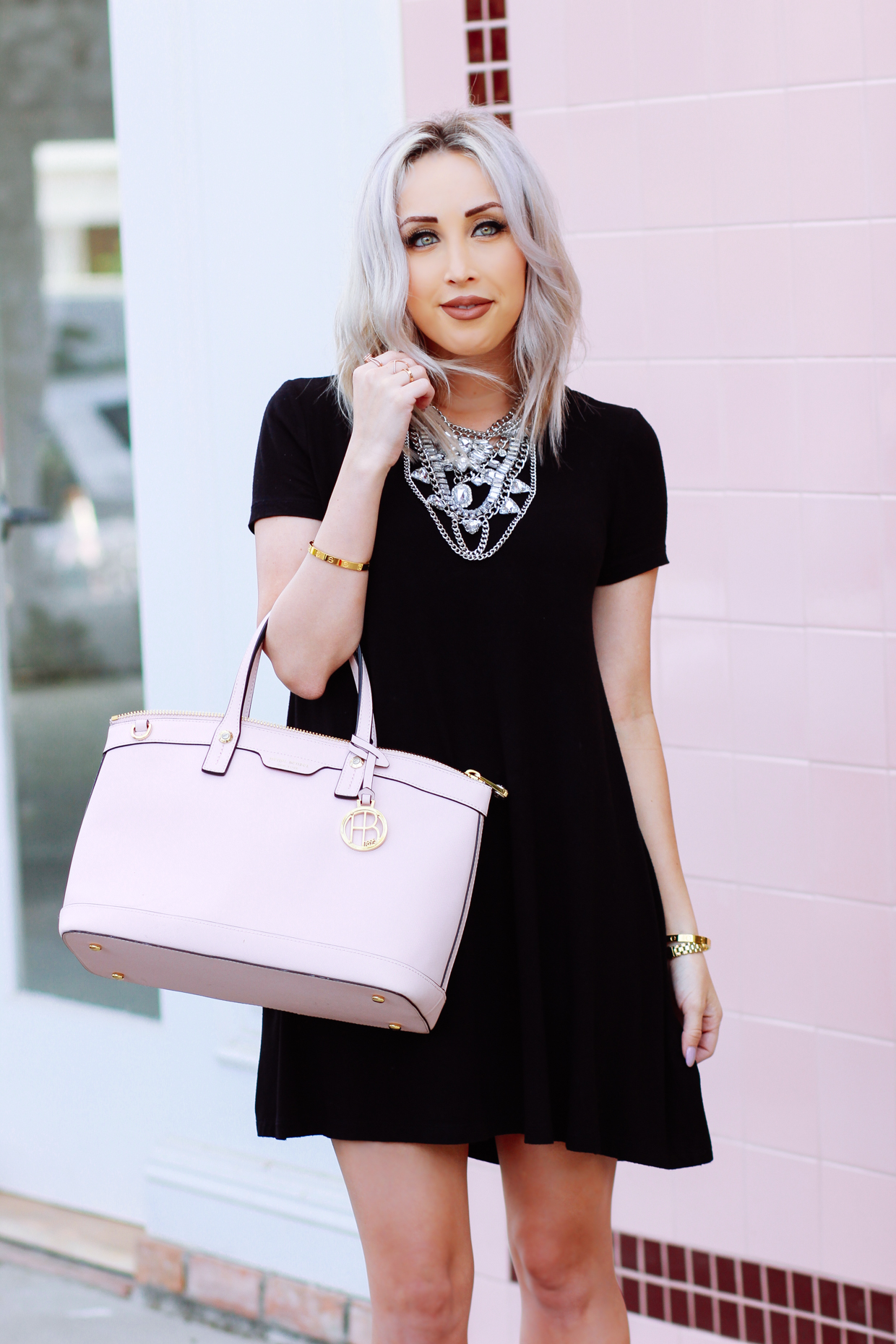 Blondie in the City | Little Black Dress, Pink @henribendel Bag, Statement Necklace | Alfred Tea Room, West Hollywood, Melrose Place