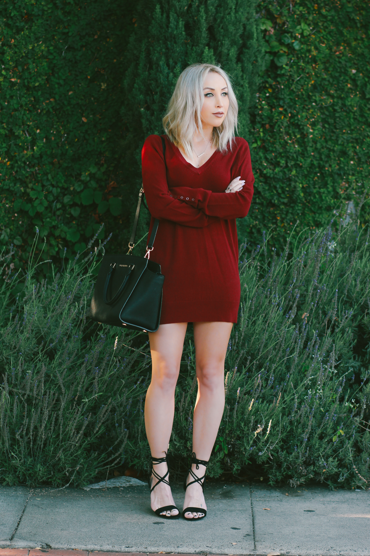 Blondie in the City | Burgundy Sweater Dress | Styling A Sweater Dress