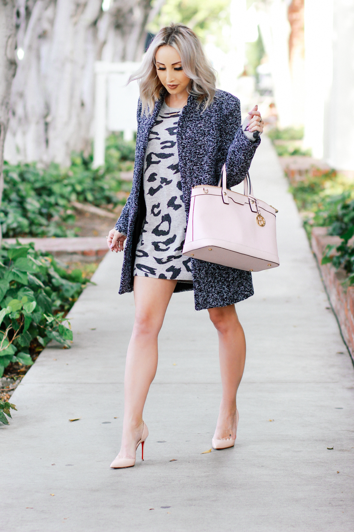 Blondie in the City | Grey Sweater Dress, Grey Coat, Pink @henribendel Bag