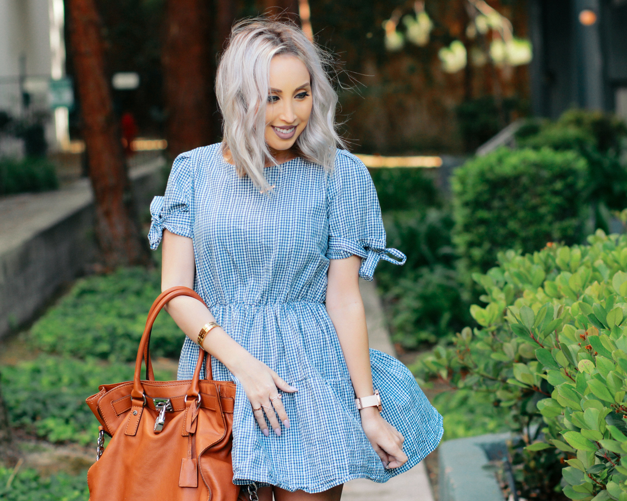 Blondie in the City | Plaid Dress, Camel Michael Kors Bag, Pale Pink Louboutin's