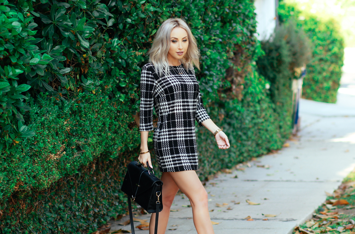 Blondie in the City | Plaid Shift Dress @forever 21 | Pink Bow Ankle Strap Heels | Business Chic