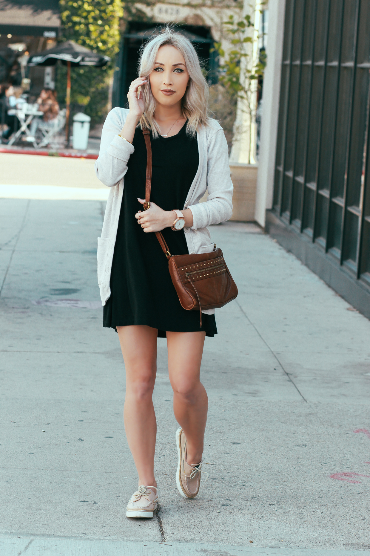 Blondie in the City | Little Black Dress and a Light Sweater | Watch: @the_fifth | Shoes: Sperry's from @rwfootwear