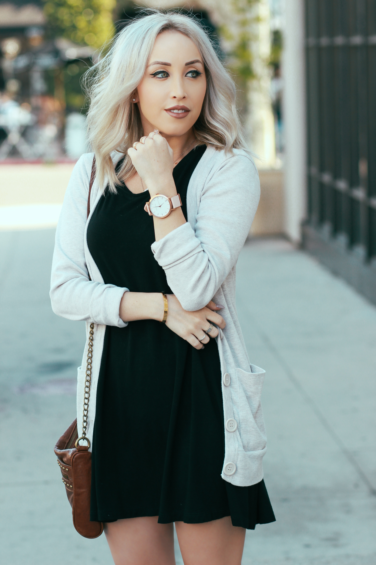 Blondie in the City | Little Black Dress and a Light Sweater | Watch: @the_fifth