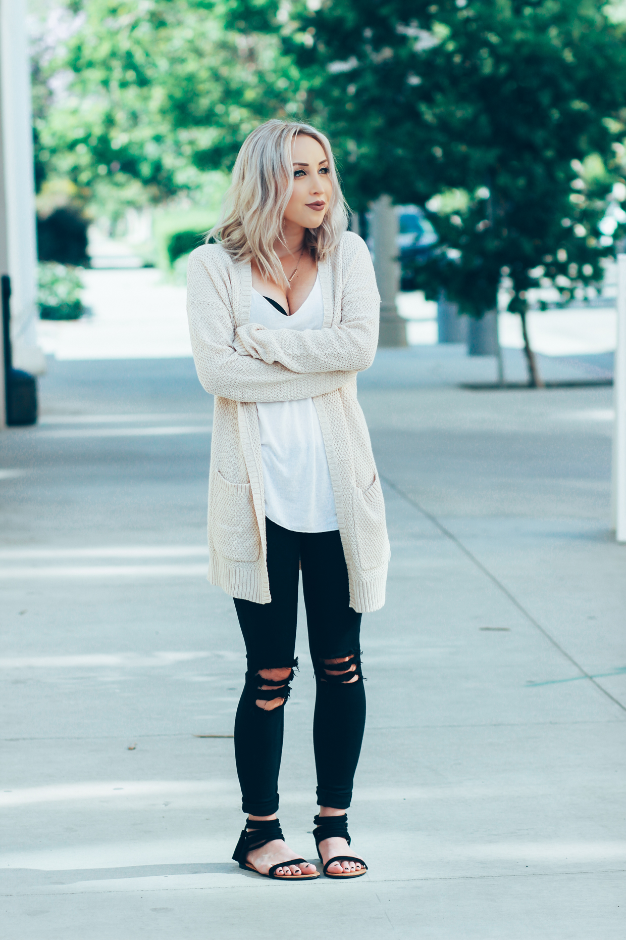 "Blondie in the City | Casual #OOTD | Distressed Jeans | ""A $60 Cardigan That Is Totally Worth The Splurge"" @urbanoutfitters"