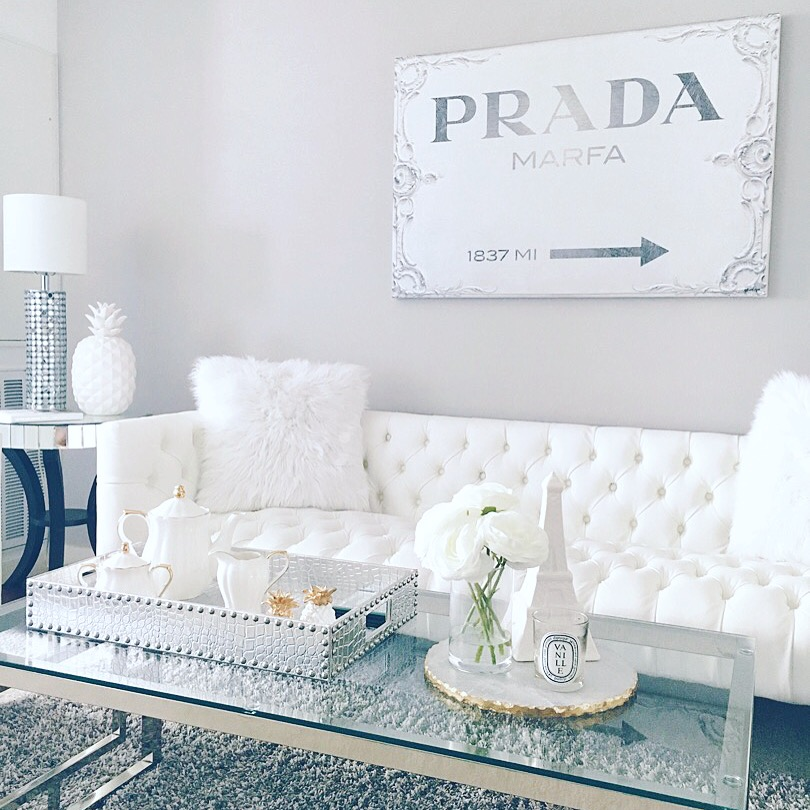 Blondie in the City | Instagram @HayleyLarue | White Living Room Decor | Prada Marfa Canvas | @ZGallerie