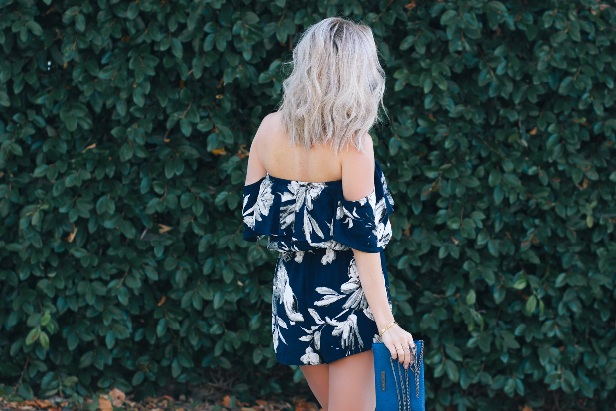 Blondie in the City | WIN A $200 Gift Card to @anglclothing on BlondieintheCity.com! | Floral Print, Off the Shoulder Romper | Summer Romper | Summer Outfit Inspiration