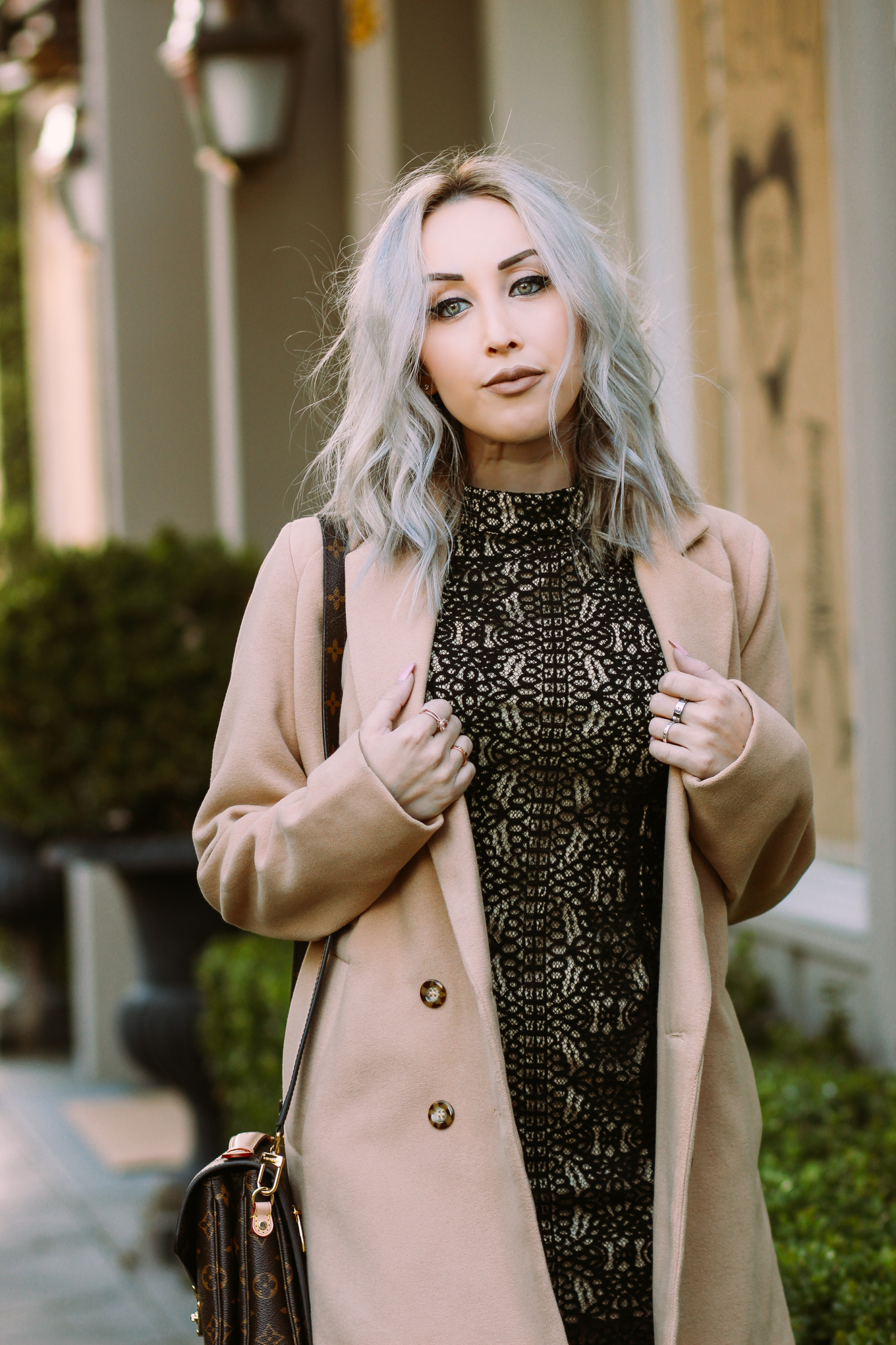 Blondie in the City | Halter Lace Dress, Camel coat, Louis Vuitton Bag | Chic #OOTD