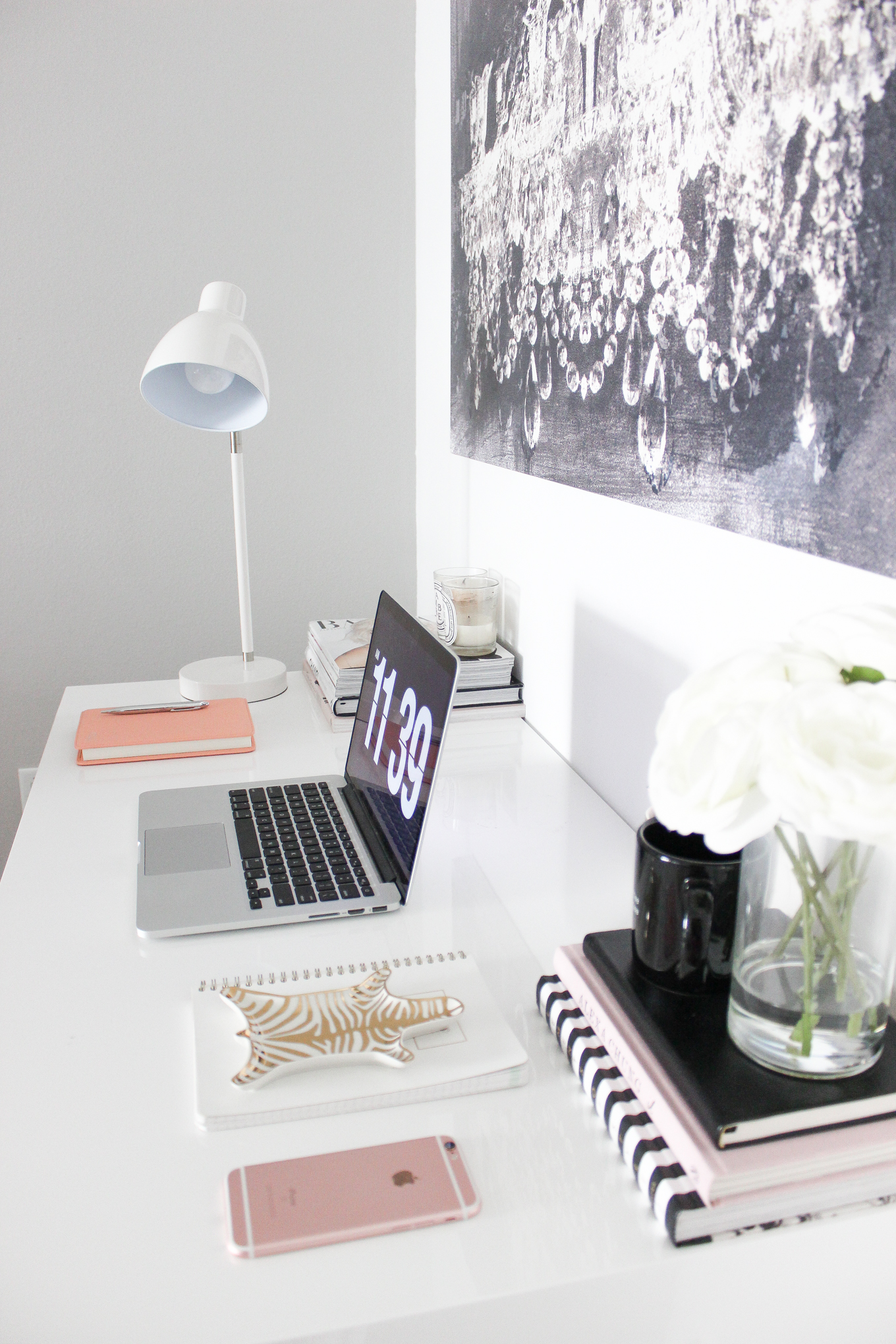 Blondie in the City   Office Space Decor, Desk Decor, Black and White office Decor, White Office Desk, Black Tufted Chair