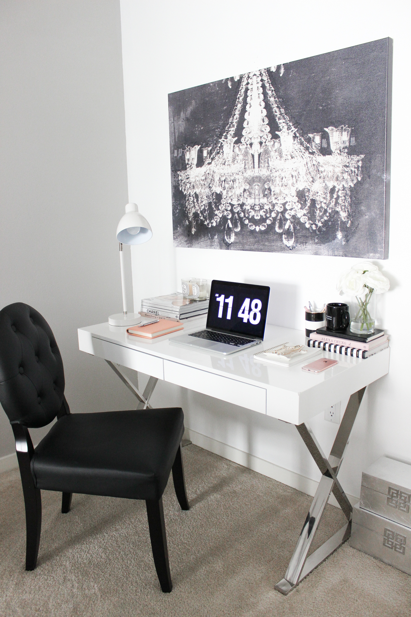 Blondie in the City | Office Space Decor, Desk Decor, Black and White office Decor, White Office Desk, Black Tufted Chair