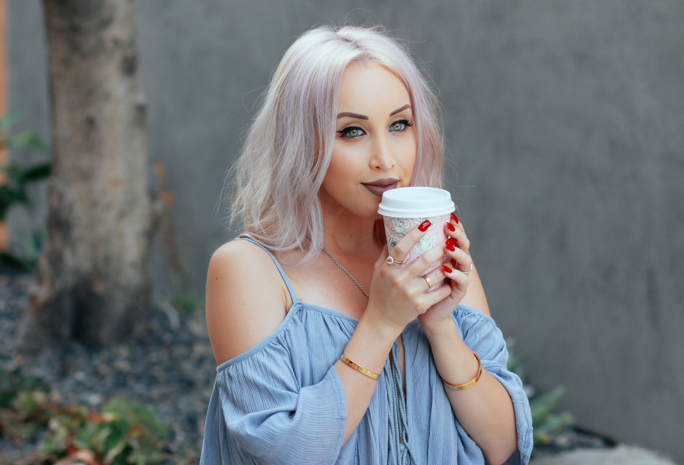Blondie in the City | Light Blue Tassel Top @windsorstore | Casual Street Style | Alfred Tea Room in West Hollywood | Lip Color: Trap by @ColourPopCo