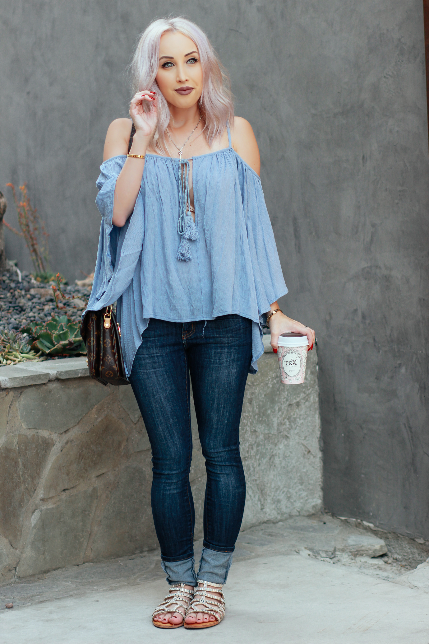 Blondie in the City   Light Blue Tassel Top @windsorstore   Casual Street Style   Alfred Tea Room in West Hollywood   Lip Color: Trap by @ColourPopCo