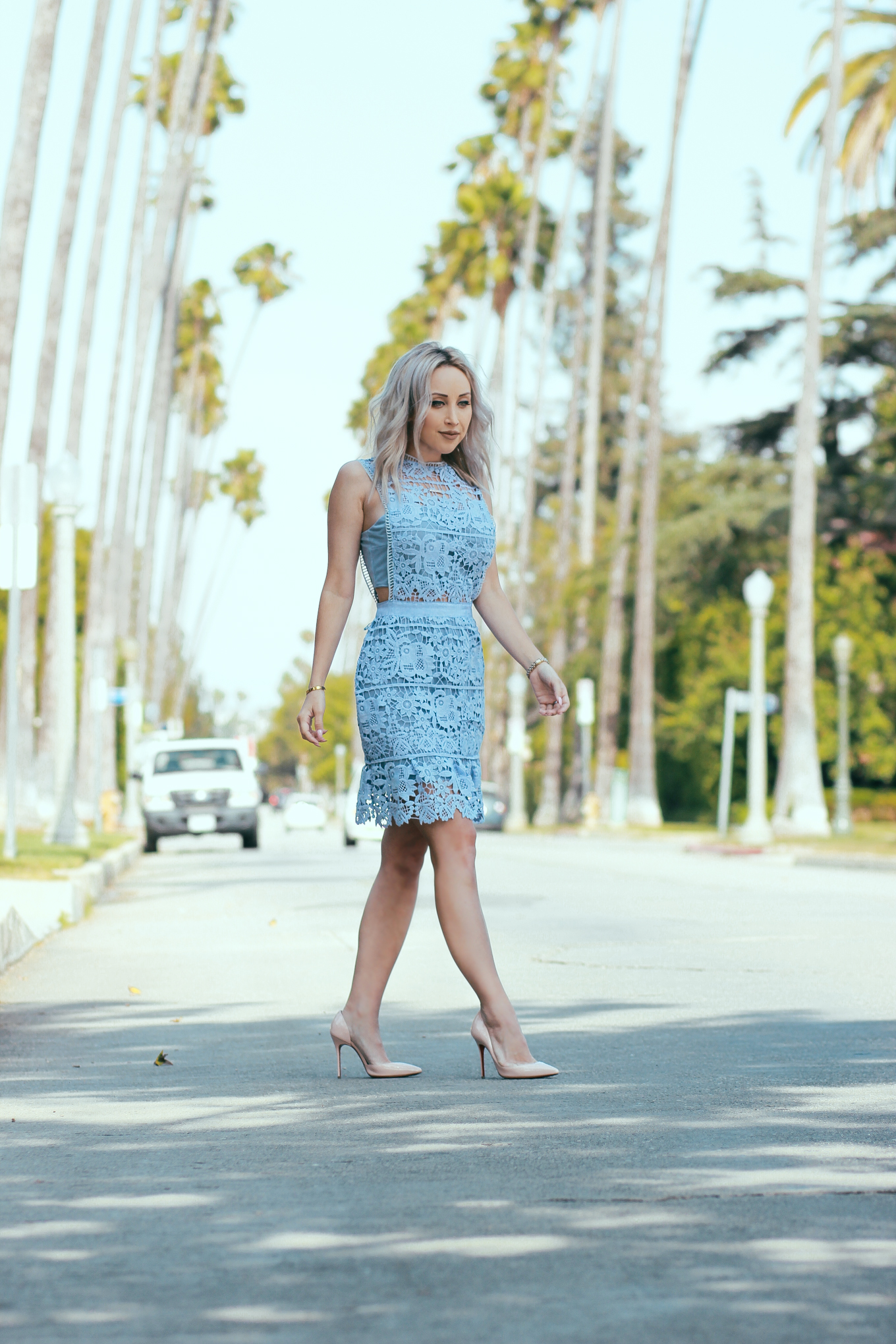 Blondie in the City | Baby Blue Lace A-Line Dress | Street of Palm Tress in LA