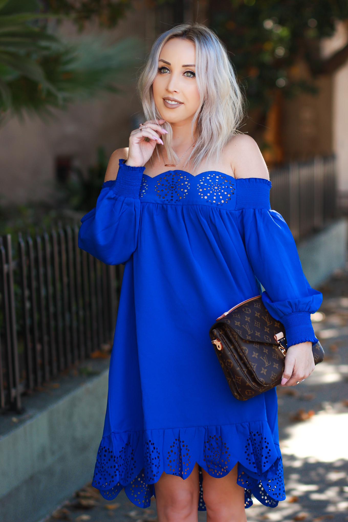 Blondie in the City | Bright Blue Scalloped Off The Shoulder Dress | Louis Vuitton Pochette Metis
