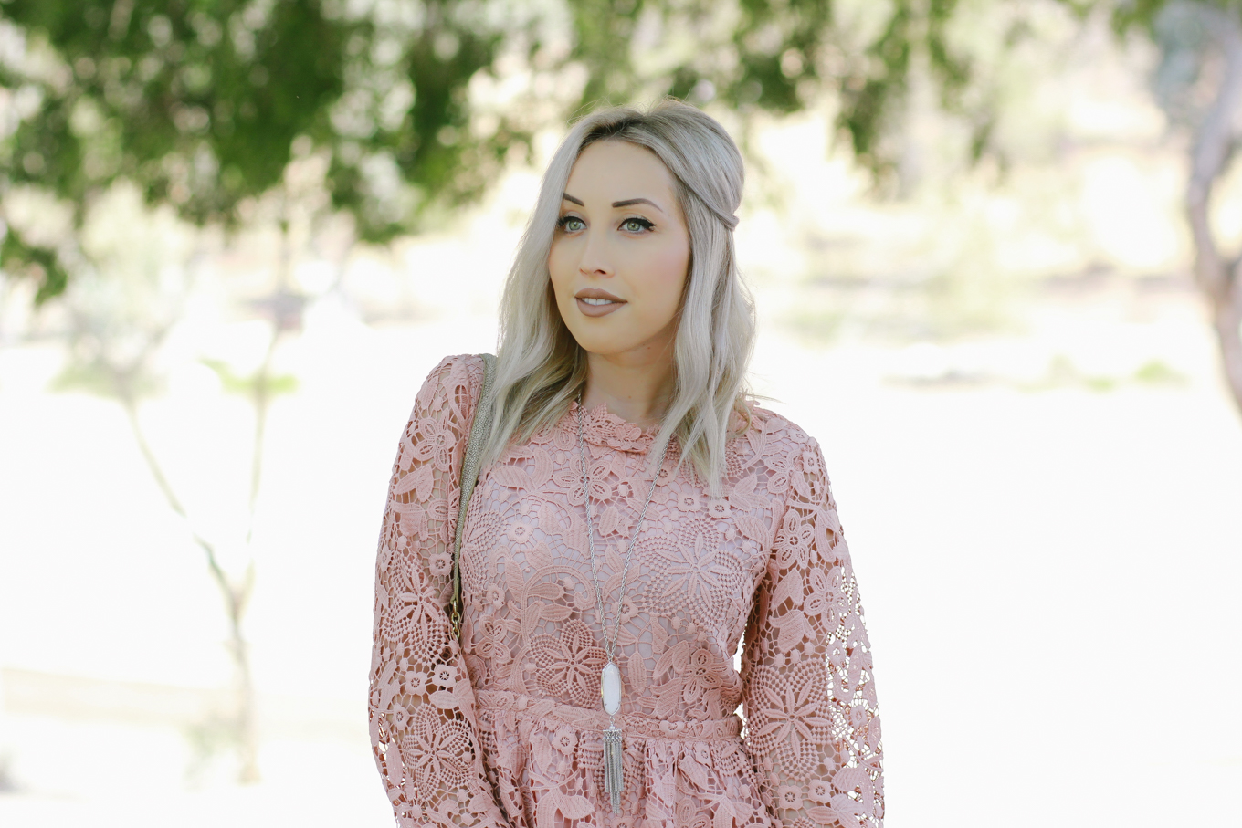 Blondie in the City | Pink Lace Dress | Elegant Dress
