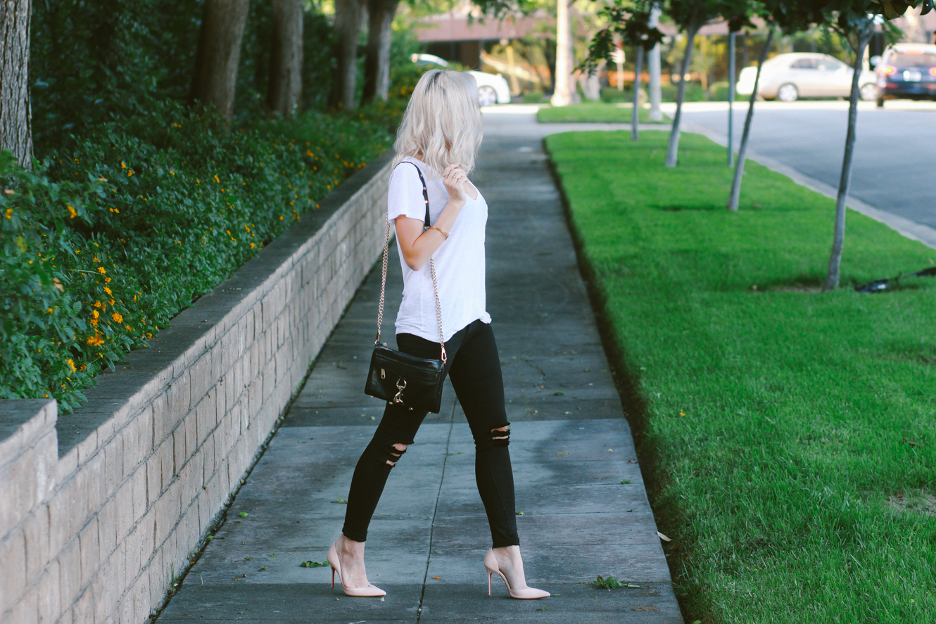 Blondie in the City | Black Skinny Jeans, Basic White Tee, Christian Louboutin's, Rebecca Minkoff Bag | Street Style #OOTD