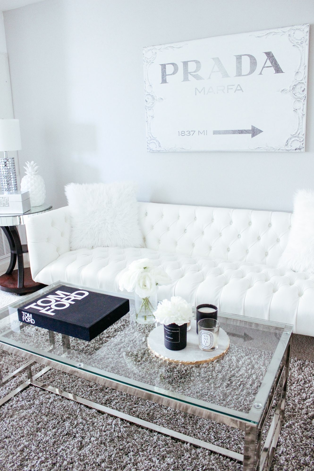 Blondie in the City Home Decor | Hayley Larue Home Decor | @ZGallerie living room decor | Tom Ford Coffee Table Book | Tom Ford Book | Black and White Decor | #homedecor #home #glamdecor #blackandwhite