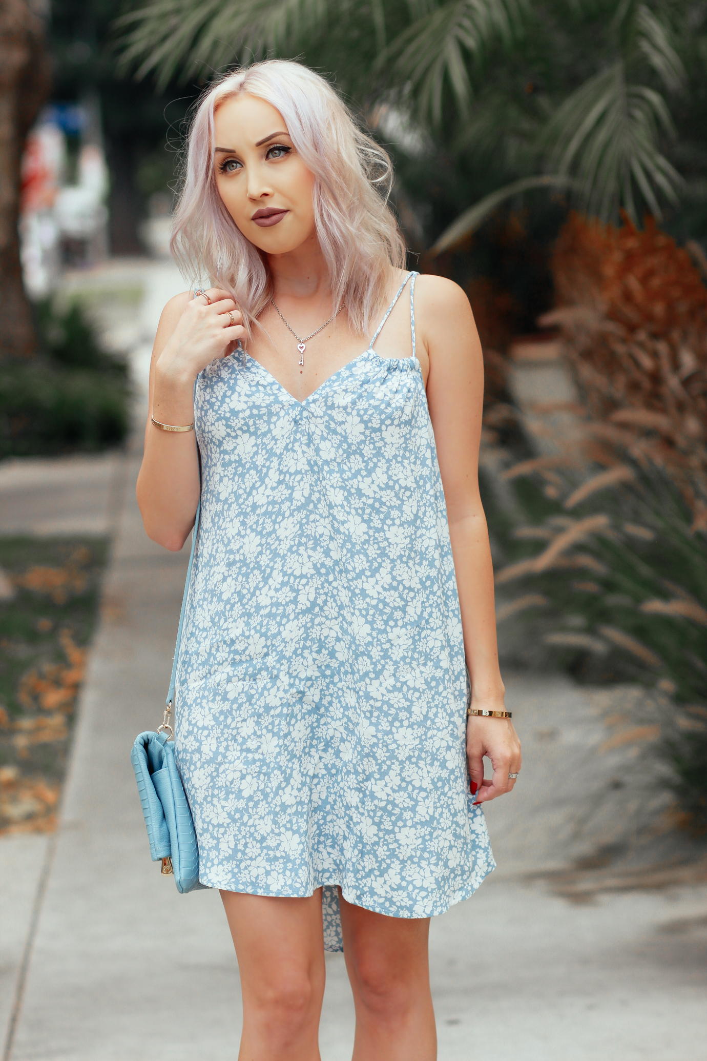 Blondie in the City | The Perfect Summer Dress | Blue and White Flowy Summer Dress