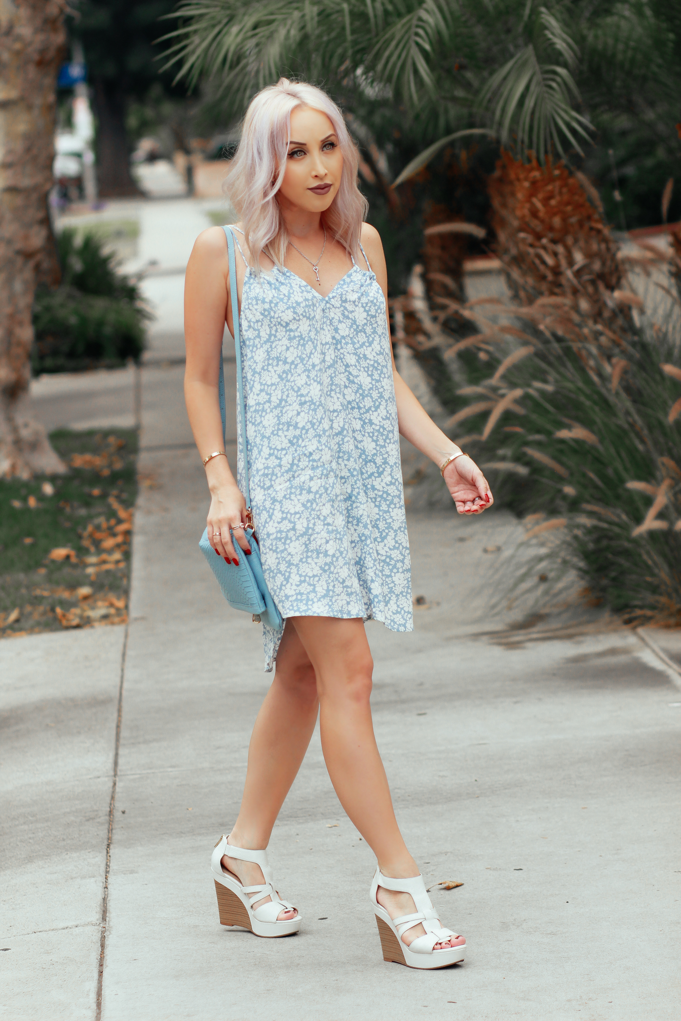 Blondie in the City   The Perfect Summer Dress   Blue and White Flowy Summer Dress
