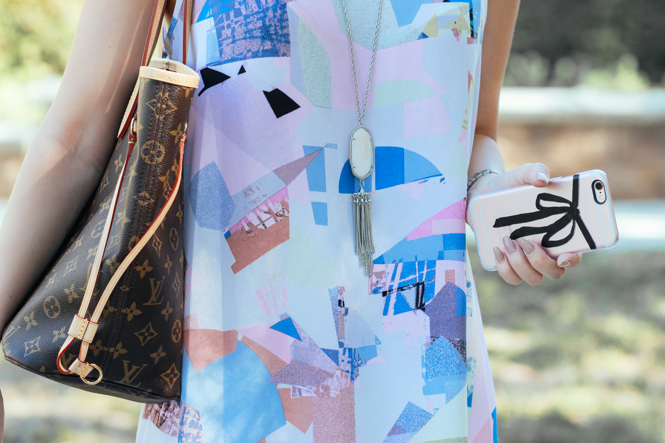 Blondie in the City | Vince Camuto Geometric Dress | Louis Vuitton Neverfull MM | iPhone Case @casetify