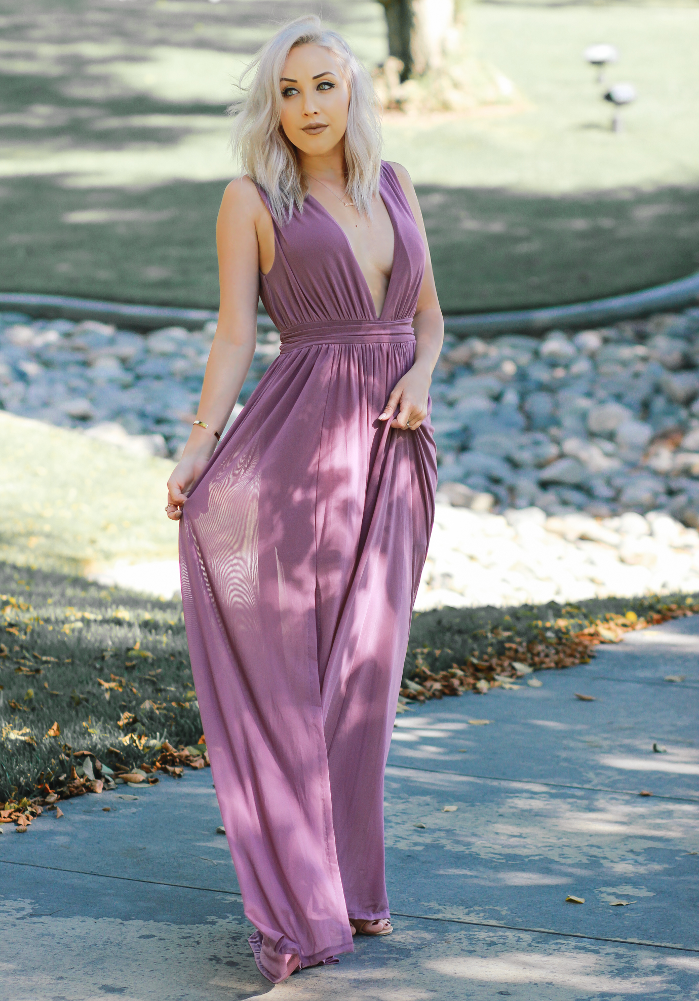 Blondie in the City | Low Cut @windsorstore Maxi Dress | Elegant Dress | Flowy Maxi Dress