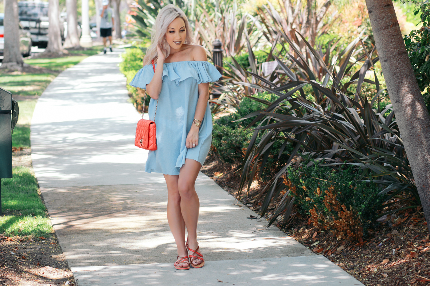 Blondie in the City | Light Blue Ruffle Summer Dress | Coral Kate Spade Bag | @corkysfootwear sandals