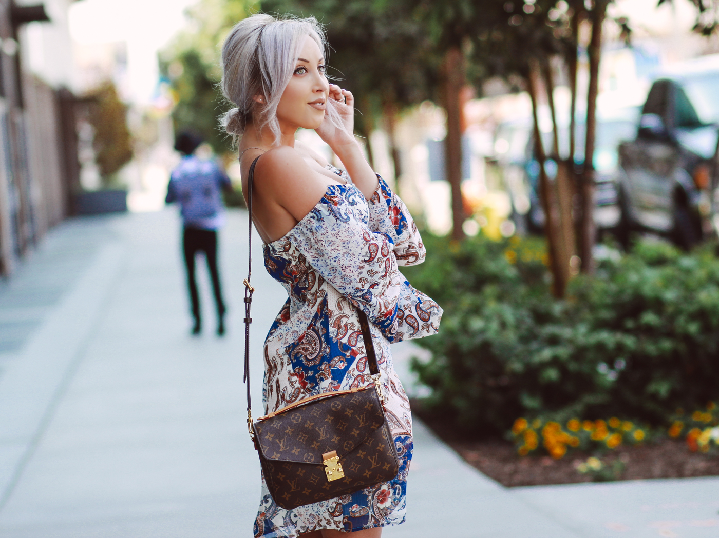 Blondie in the City | Paisley Print Dress | Louis Vuitton Pochette Metis Bag | Street Style