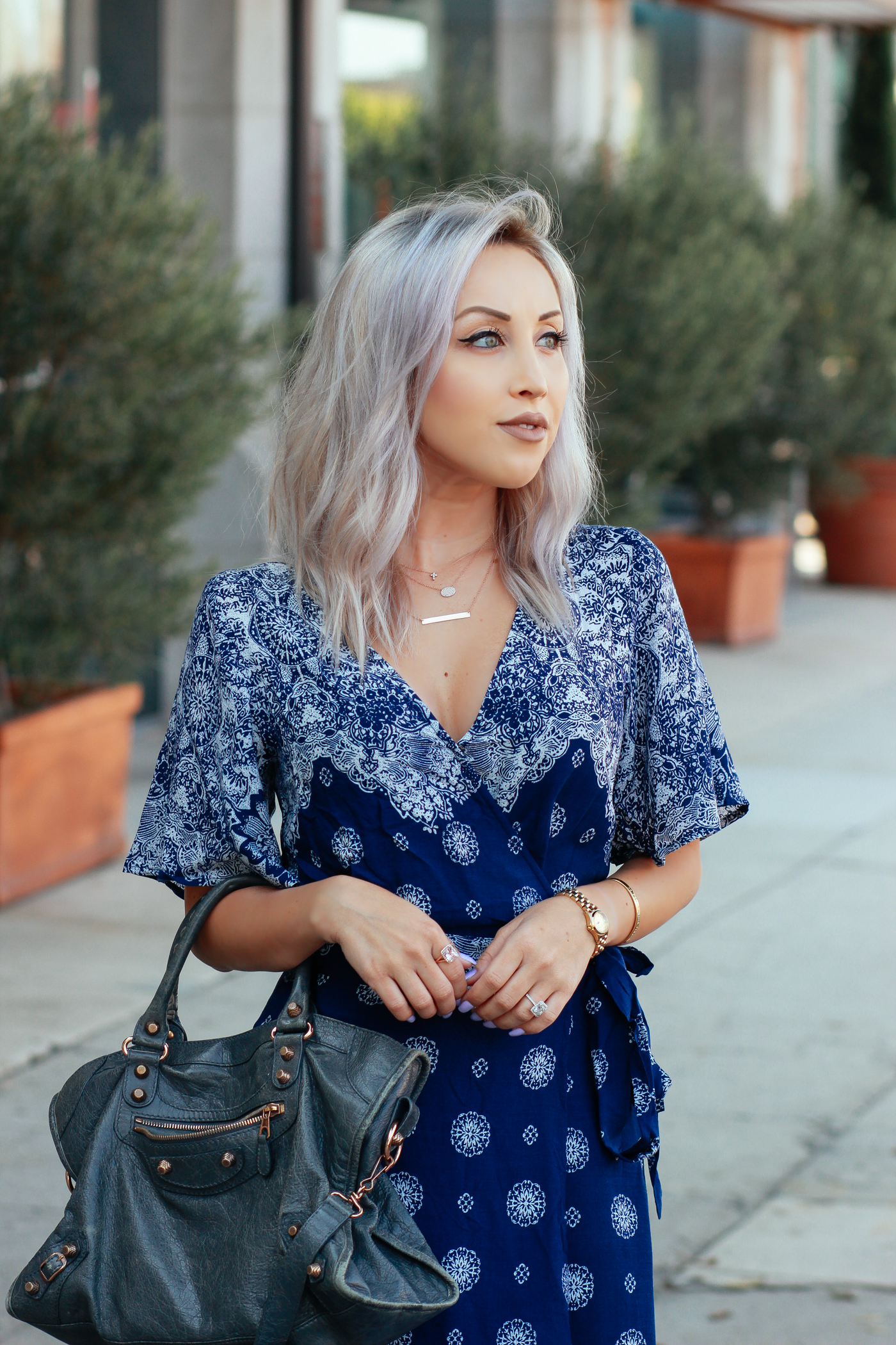 Blondie in the City | Necklaces: @Happyjewelers | Long Blue Wrap Maxi Dress | Summer Maxi Dress | Grey Balenciaga Bag