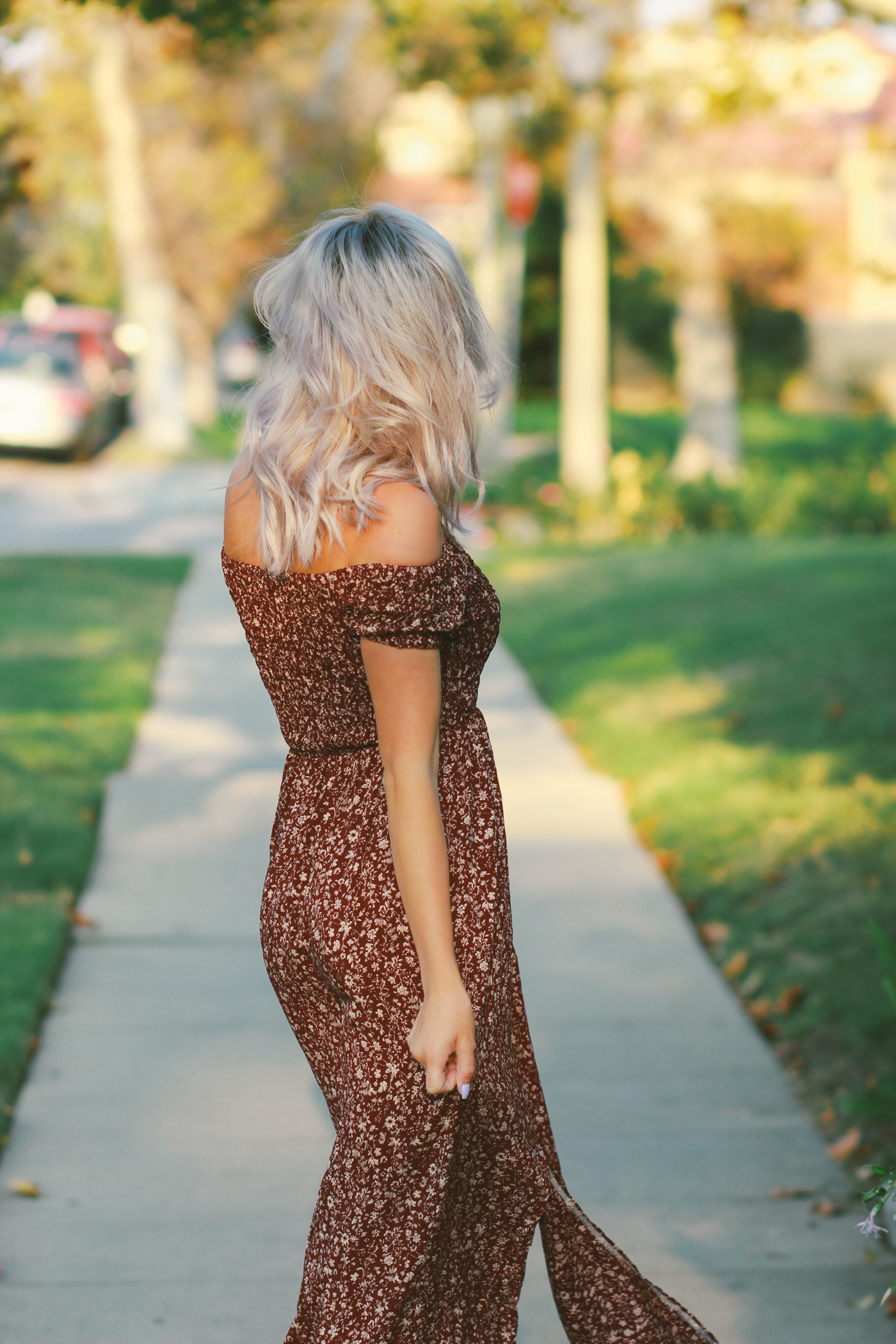 Blondie in the City | Off The Shoulder Maxi Dress | Fall Fashion | Silver Hair