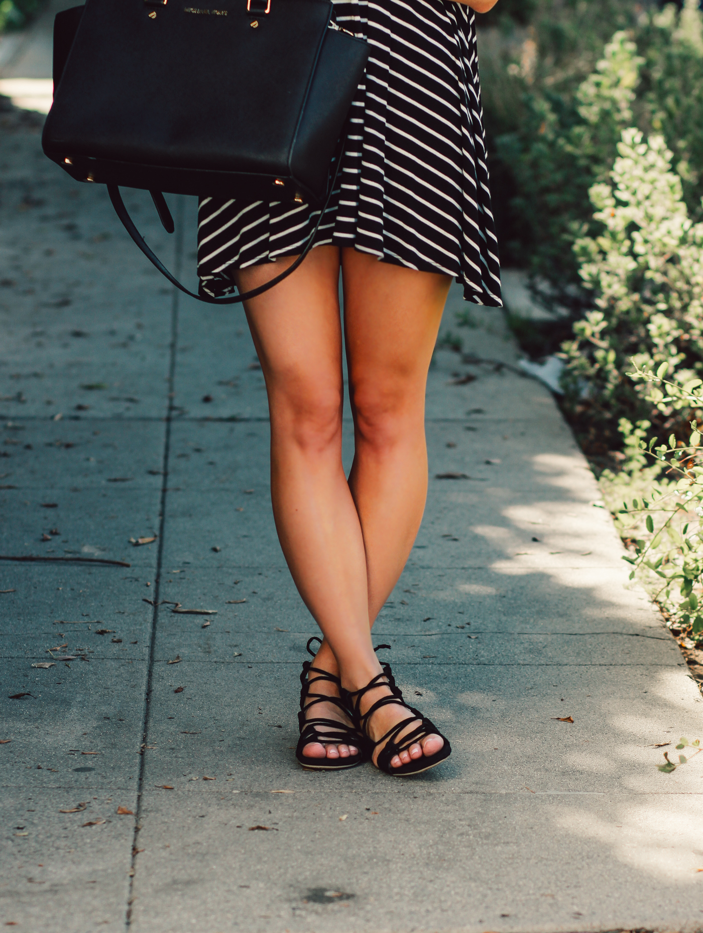 Blondie in the City | Black & White Striped Babydoll Dress | Black Lace Up Flats