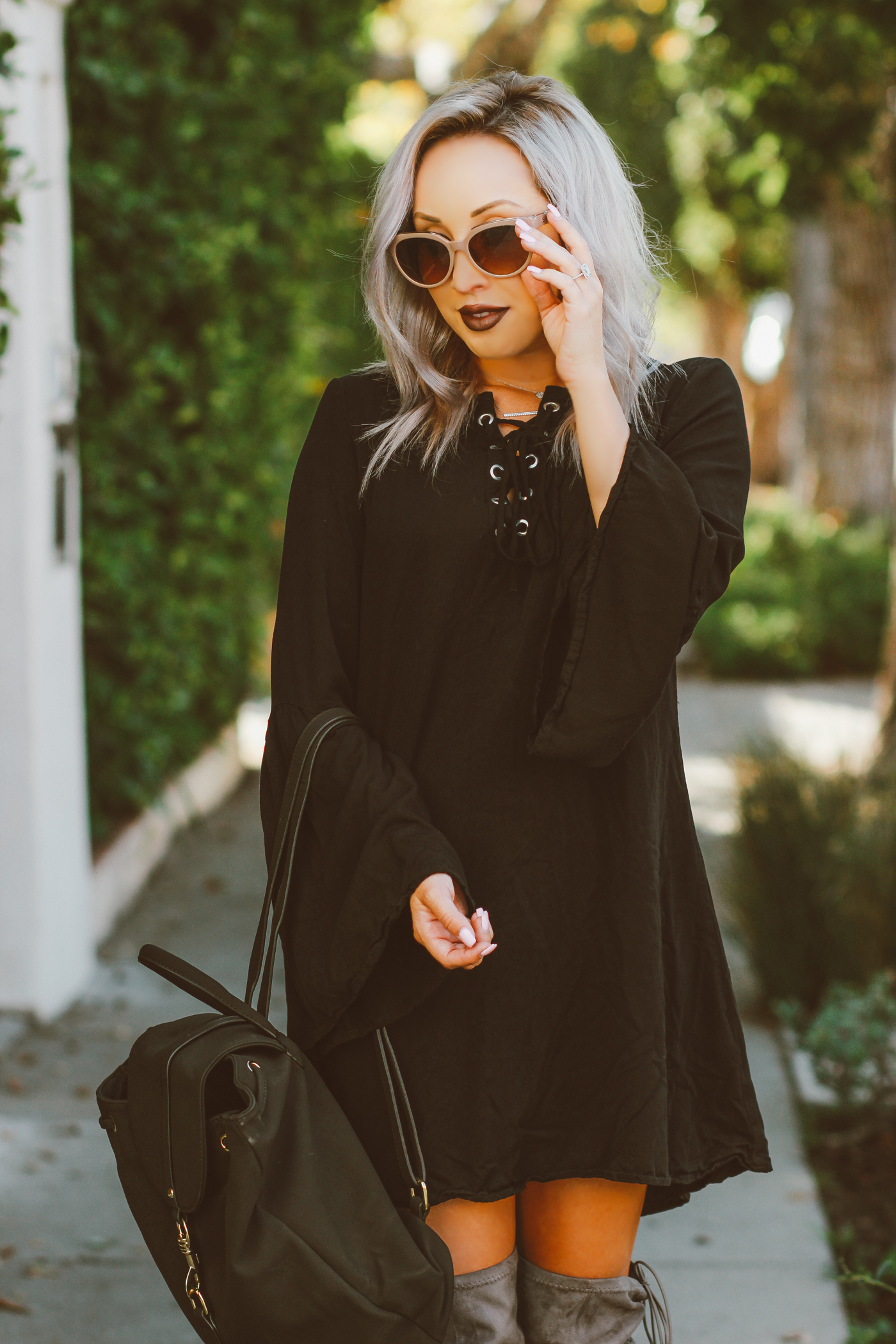 Blondie in the City | Black Bell Sleeve Dress @justfabonline | Suede Thigh High Boots @shoedazzle | Fall Fashion
