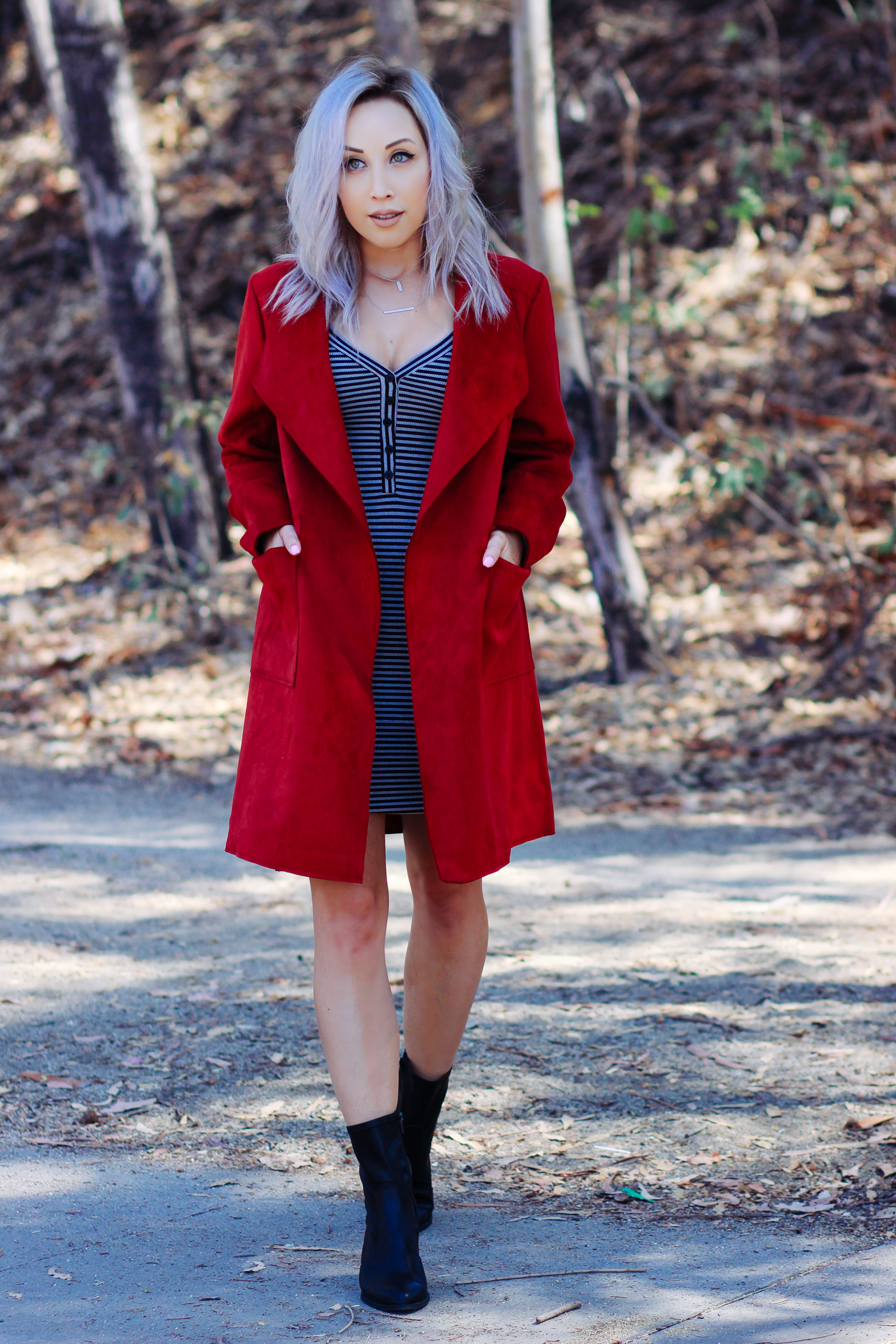 Blondie in the City | Red Coat, Striped Dress @justfabonline | Black Booties @shoedazzle | Fall Fashion