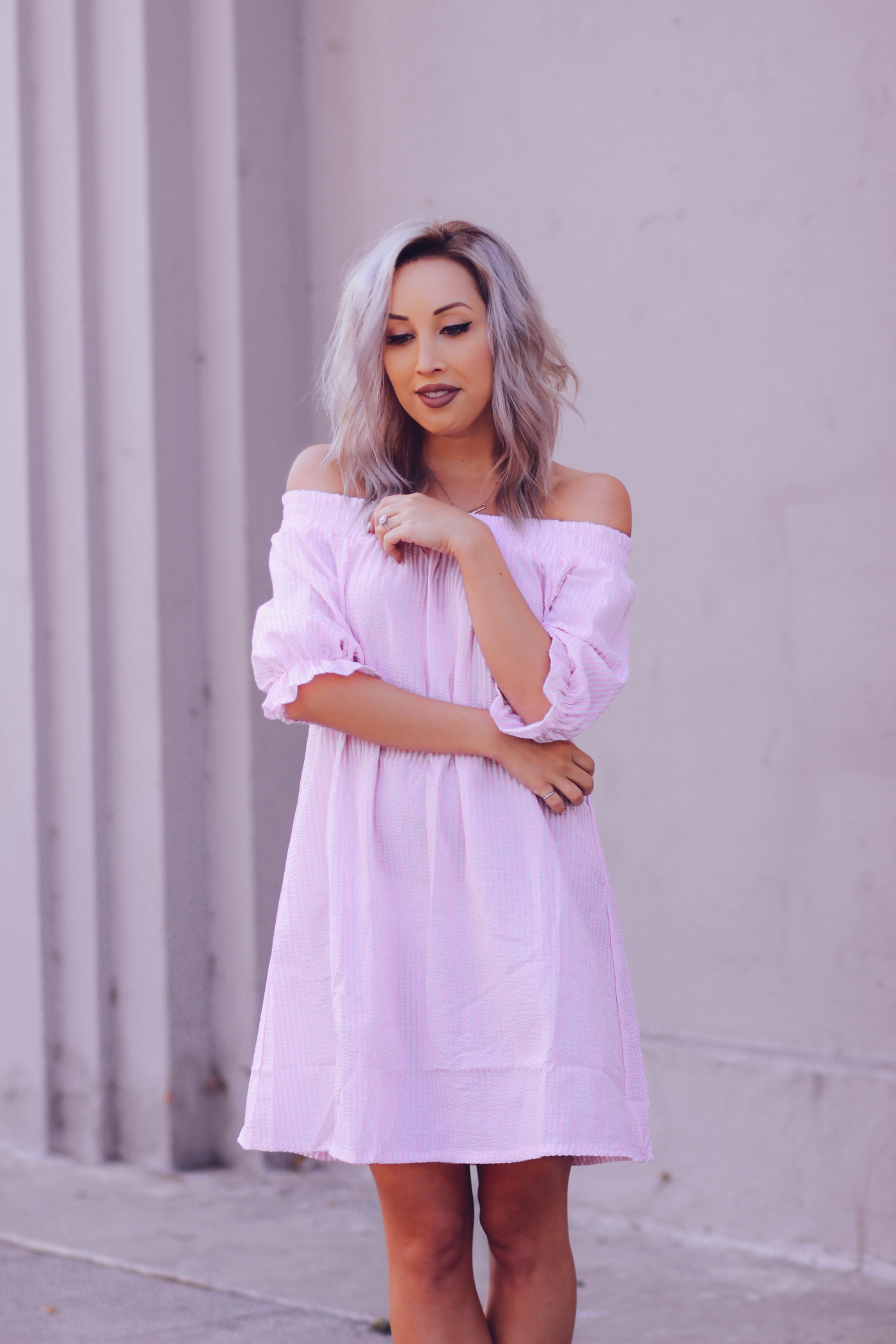 Blondie in the City | Pink Stripe Off The Shoulder Dress | Pink Christian Louboutin's