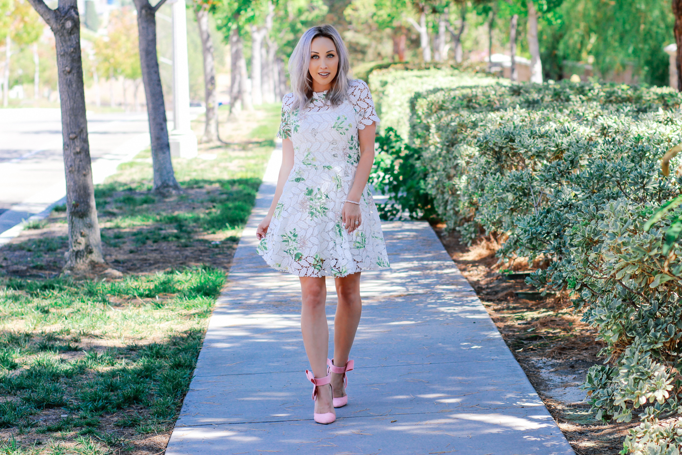 Blondie in the City | Summer Lace Dress from @chicwish | Handmade Dazzling Pastel Pink Glamour Bracelet from @Sweet-Charm-Elegance | Pink Bow Heels | Girly Street Style