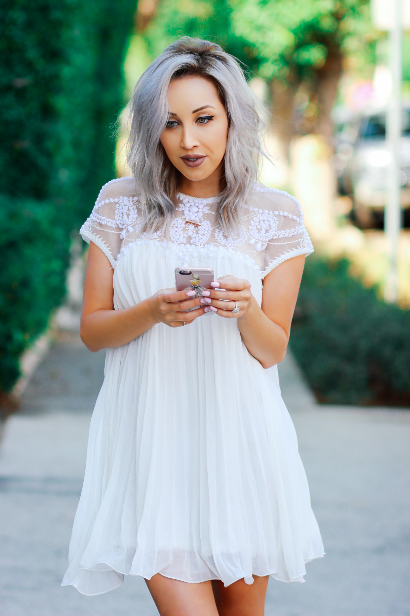Blondie in the City | White Beaded BabyDoll Dress @Chicwish | Bridal Shower Dress | Bachelorette Party Dress