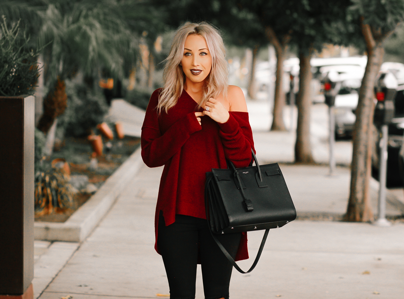 Blondie in the City | Burgundy Off The Shoulder Sweater | Black Saint Laurent Bag