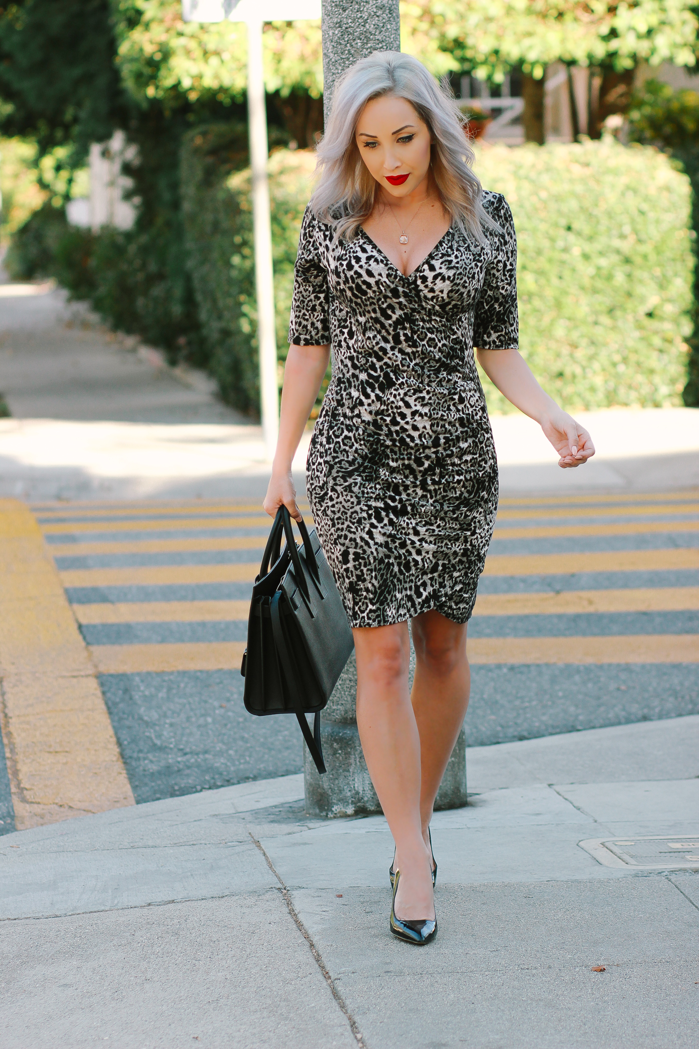Blondie in the City | Classy Leopard Dress | Saint Laurent Sac De Jour Bag