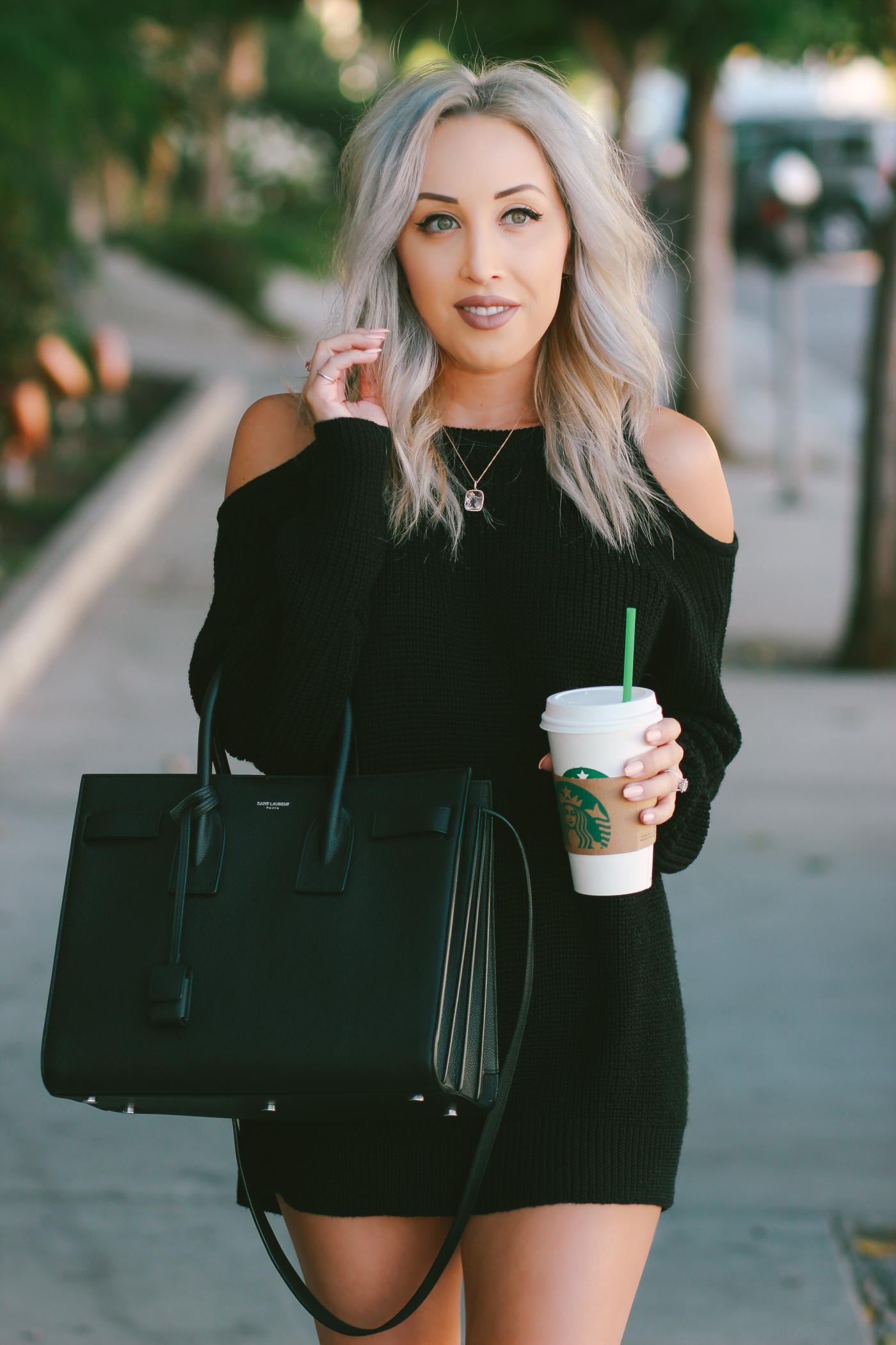 Blondie in the City | Coffee Stop | Cutoff Sweater Dress for Fall | Saint Laurent Sac De Jour Bag