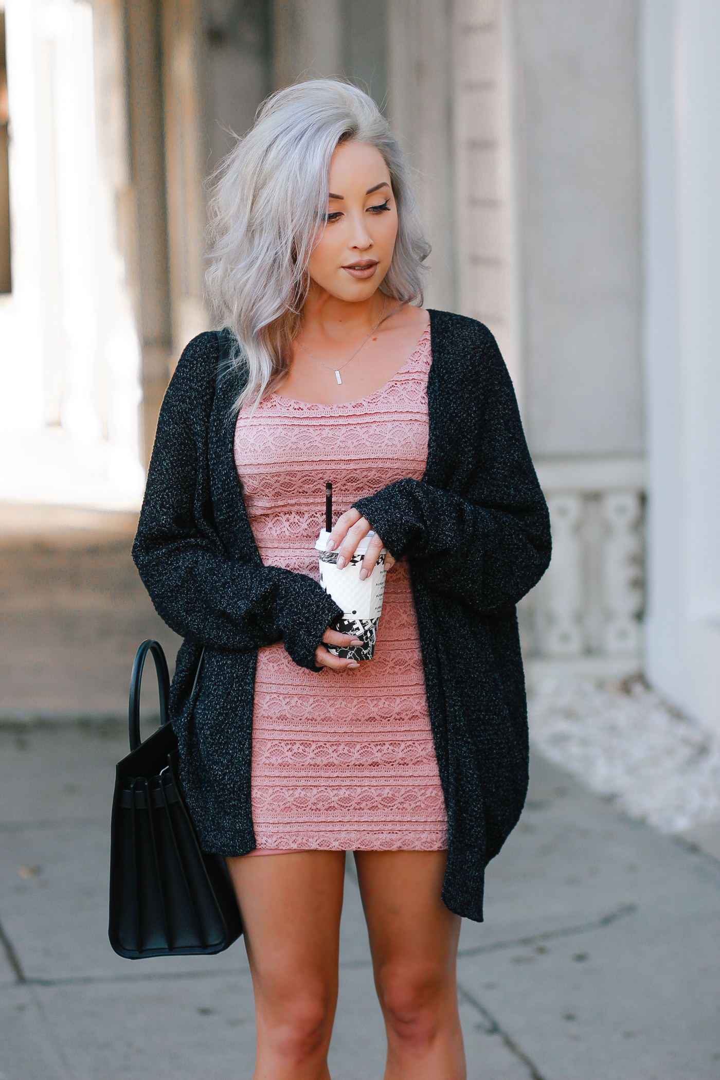 Blondie in the City | Dusty Rose Crochet Dress | Urban Outfitters Cardigan