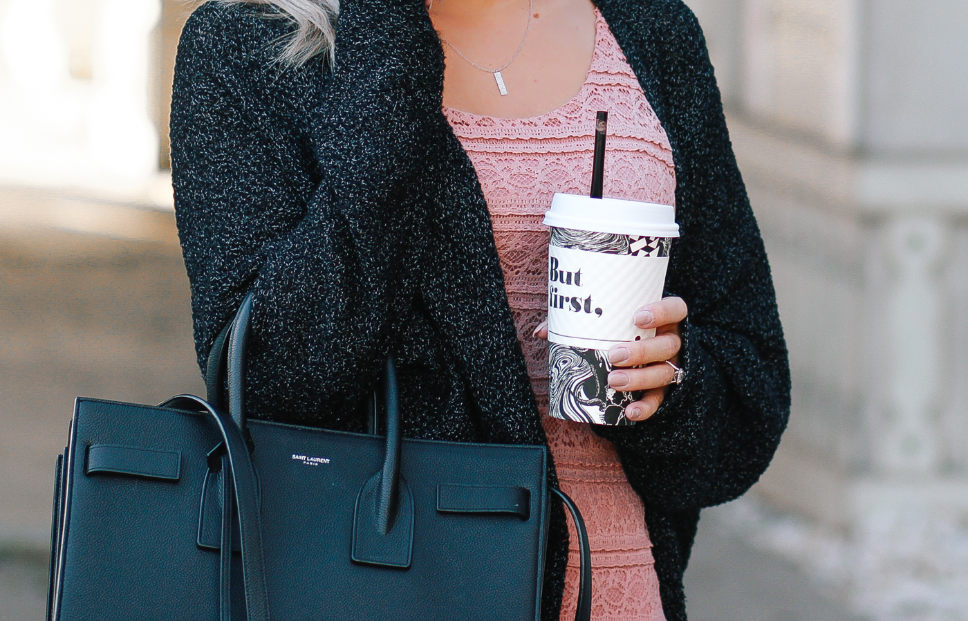 Blondie in the City | Dusty Rose Crochet Dress & @urbanooutfitters Cardigan | Saint Laurent Bag