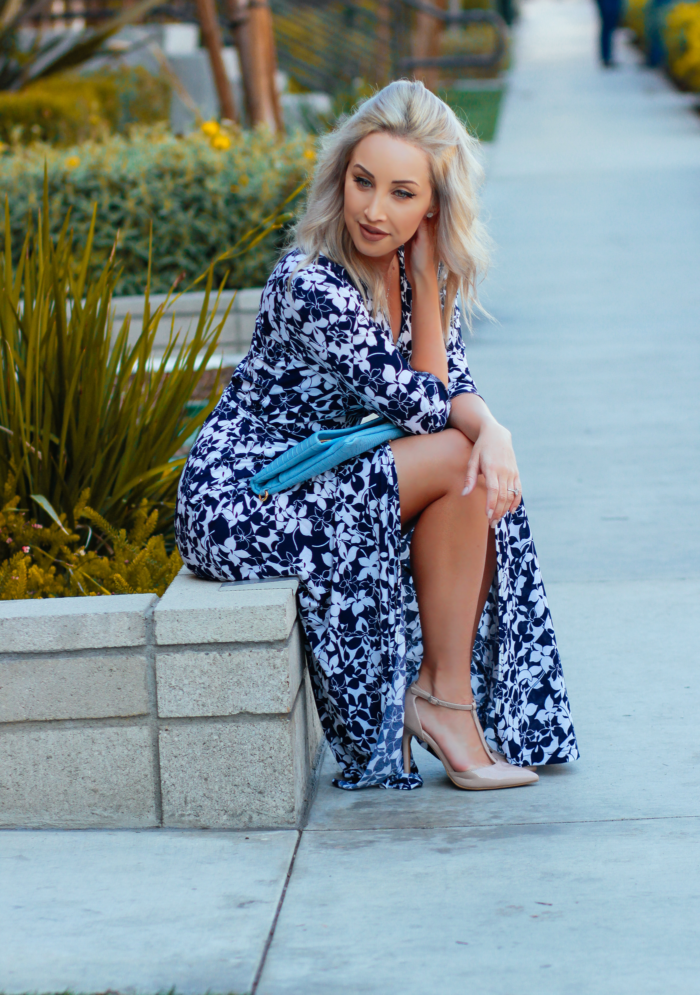 Blondie in the City | Blue and White Floral Wrap Dress