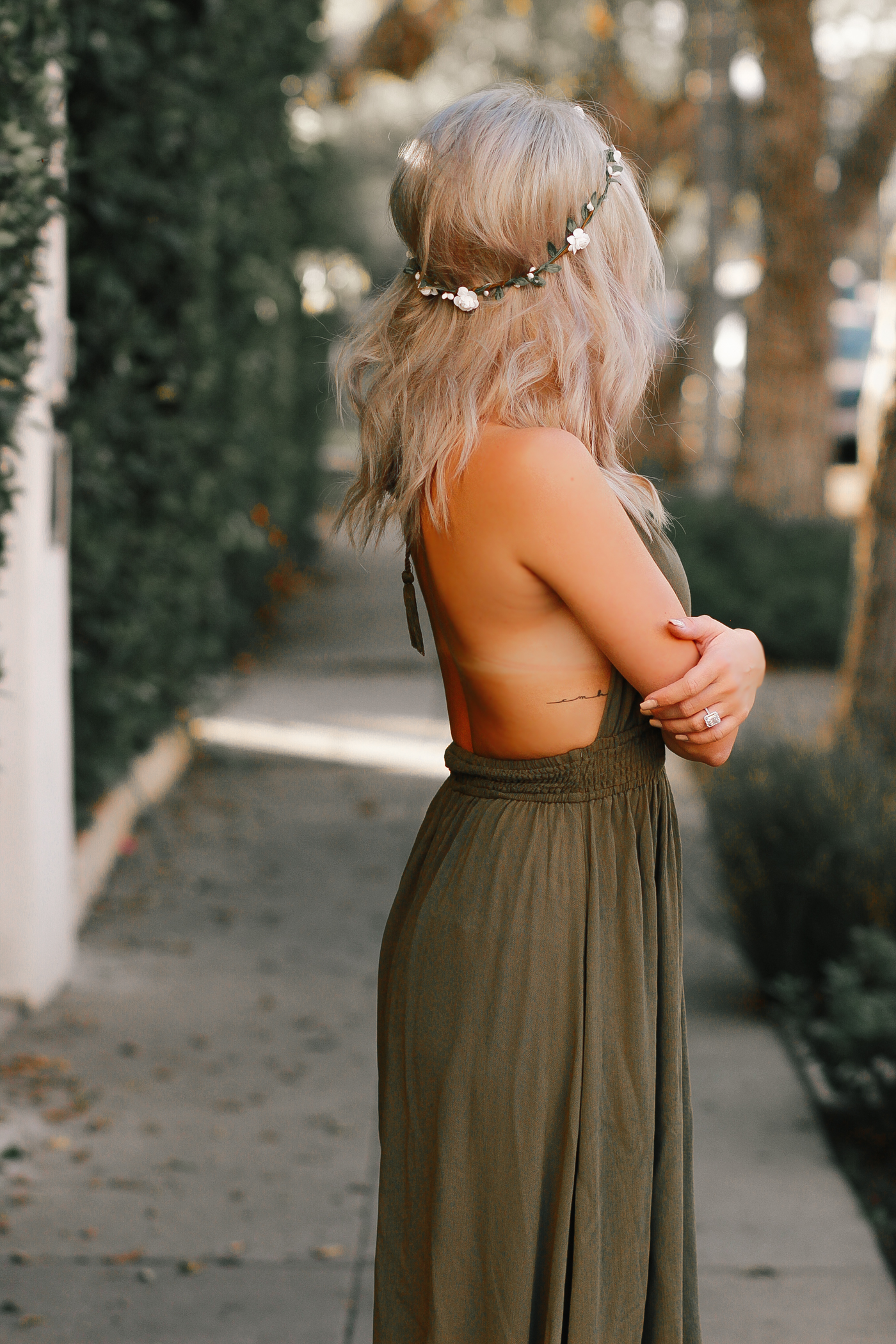 Blondie in the City | Forest Green Maxi Dress @forever21 | Fall Fashion, Boho Style