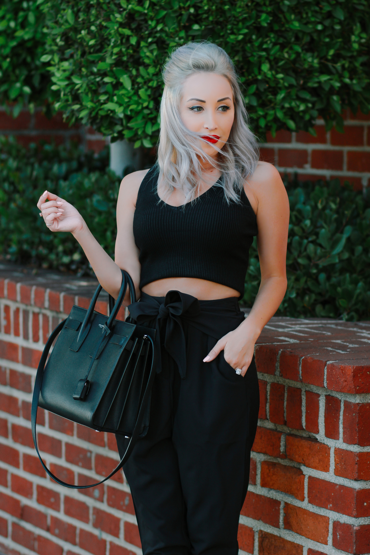 Blondie in the City | High Waisted Dress Pants @nakdfashion (20% off w/ code Hayley20) | Saint Laurent Sac De Jour Bag