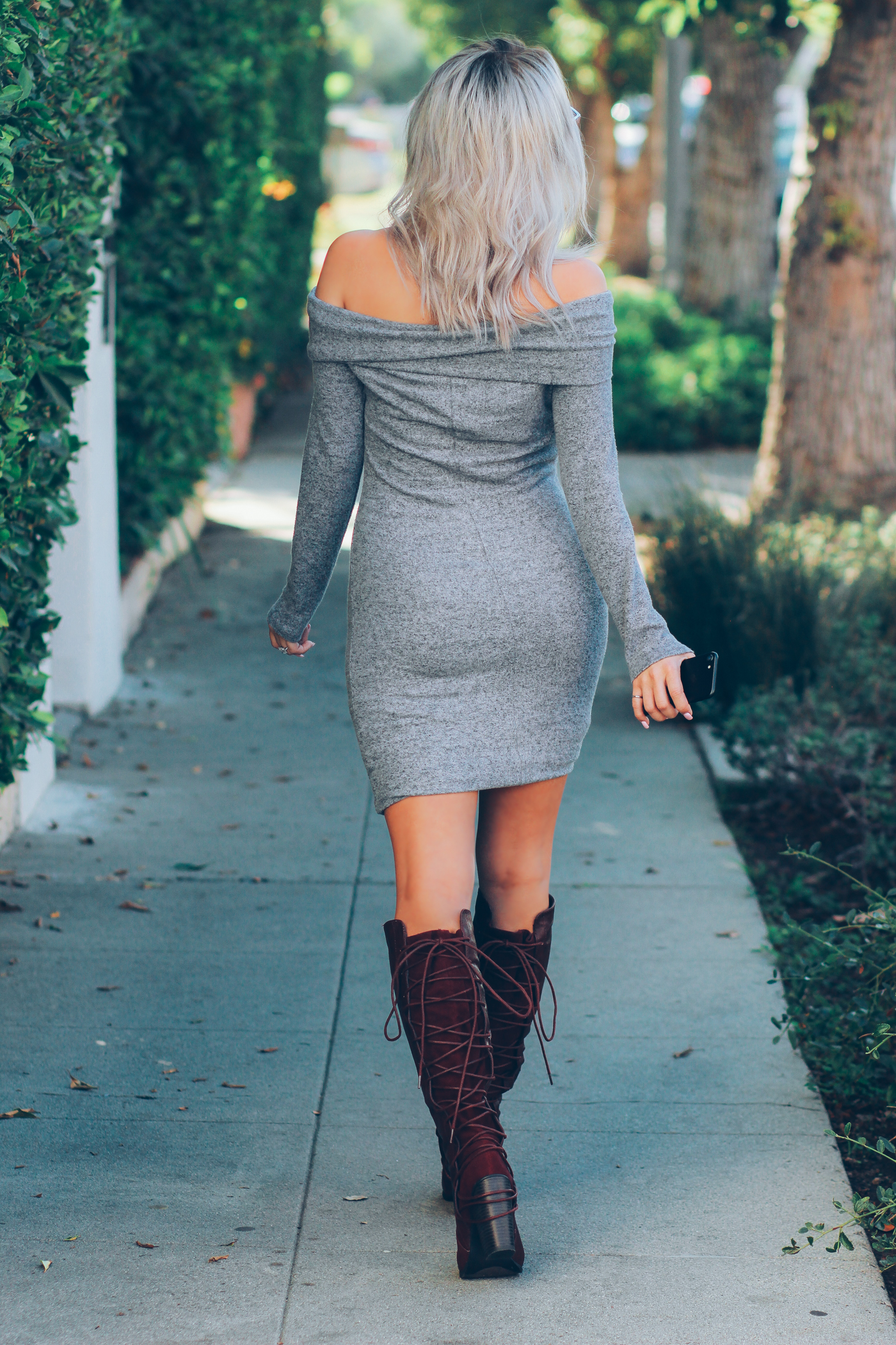 Blondie in the City | Off the Shoulder Sweater Dress @justfabonline | Burgundy boots for Fall @shoedazzle