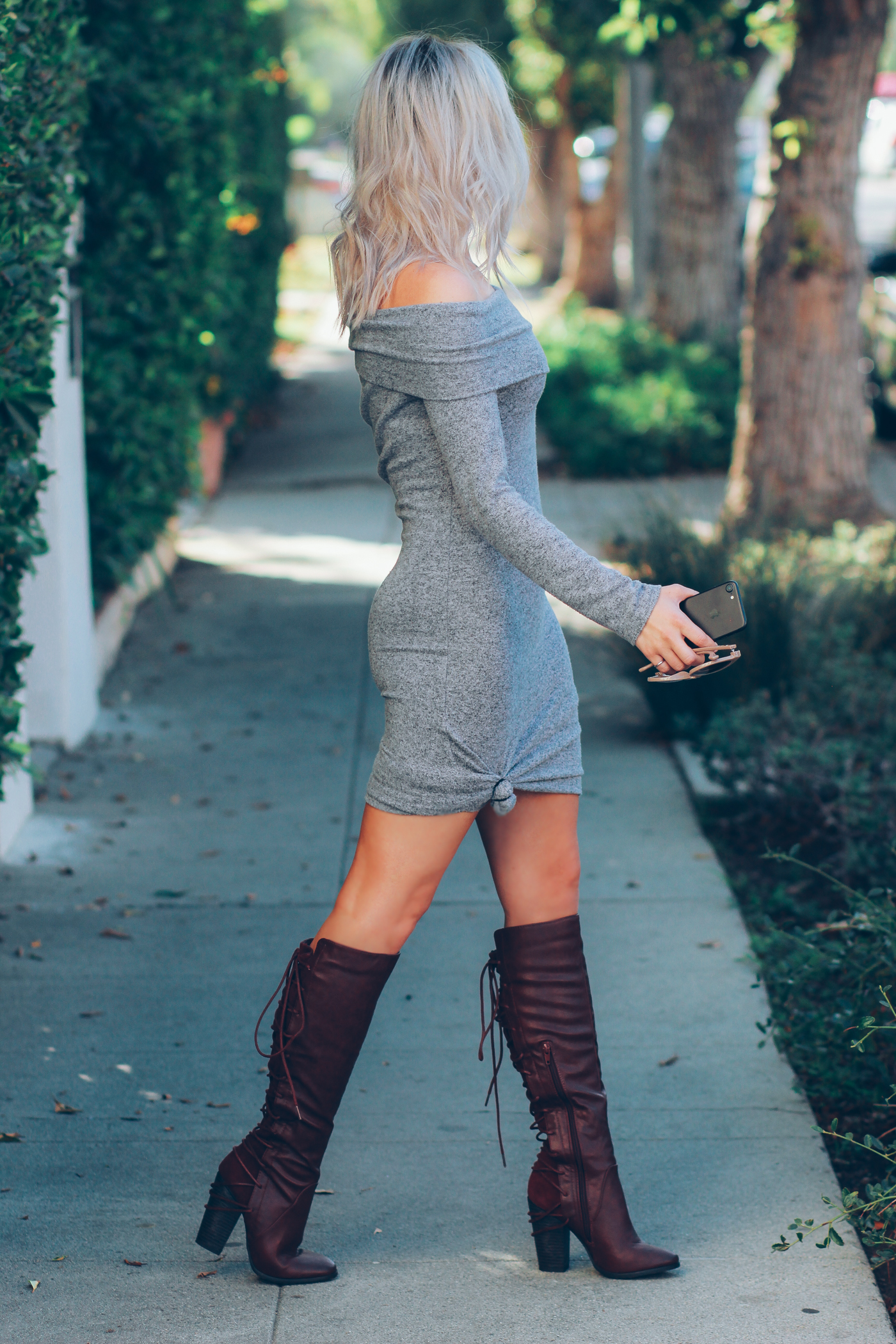 Blondie in the City   Off the Shoulder Sweater Dress @justfabonline   Burgundy boots for Fall @shoedazzle