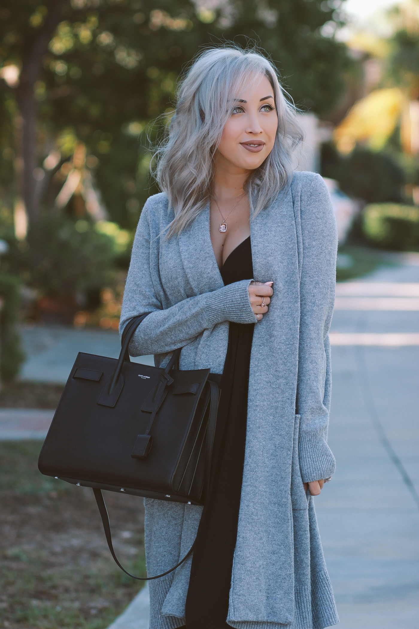 Black maxi dress with sweater