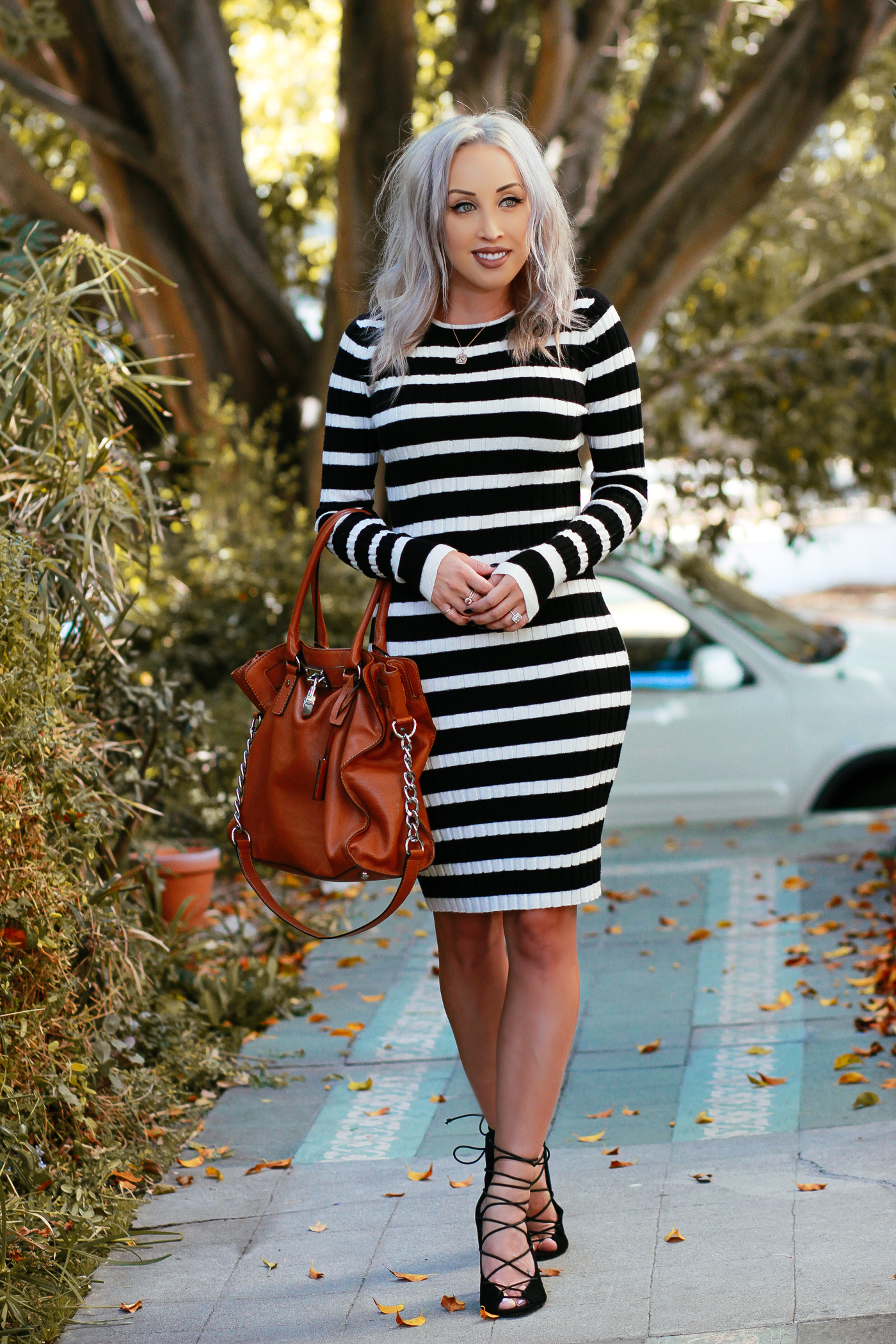 Blondie in the City | Cozy Striped Sweater Dress | @nakdfashion lace up heels | Fall Fashion Street Style