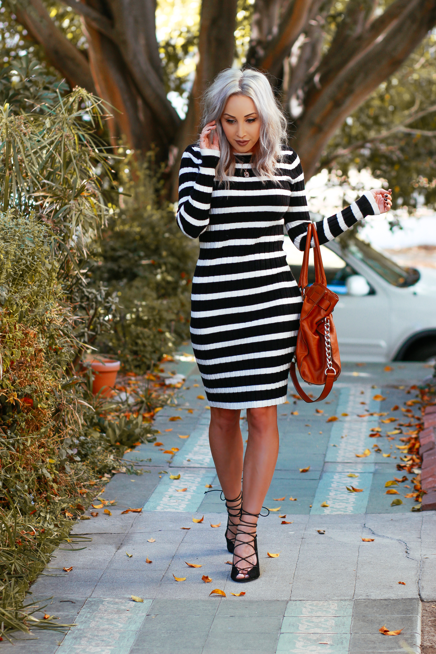 Blondie in the City   Cozy Striped Sweater Dress   @nakdfashion lace up heels   Fall Fashion Street Style